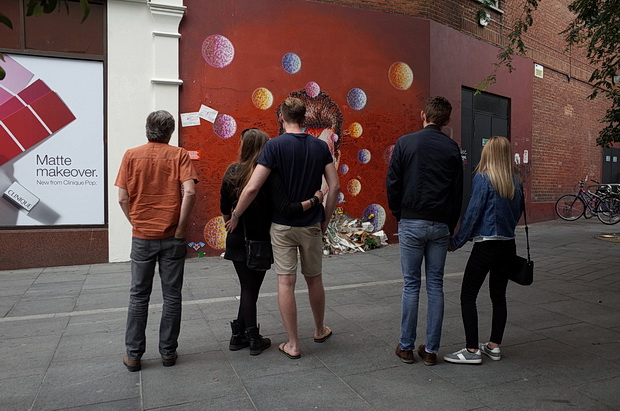 Brixton's David Bowie shrine. Photos of tributes left during September 2016