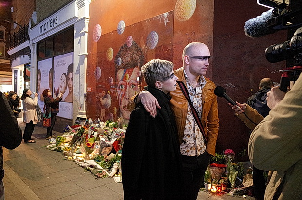 Brixton's David Bowie shrine one year on: photos of tributes left during January 2017