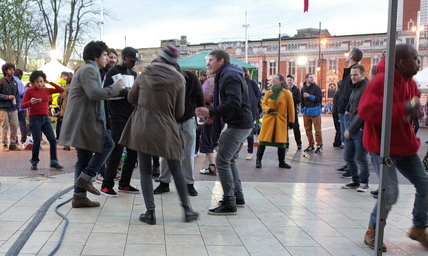 Dancing in Windrush Square - Brixton Come Together as seen from the DJ booth, Saturday 16th April 2016