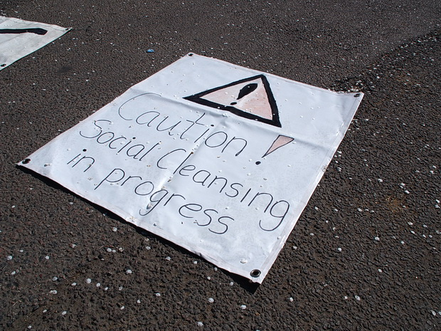 Brixton Guinness Trust residents set up blockade, Loughborough Park, Brixton, Monday 20th April, 2015