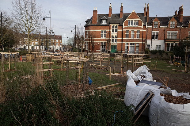In photos: Brixton Orchard takes shape opposite St Matthews Church, SW2, March 2017
