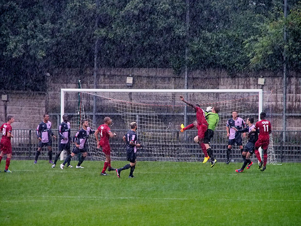 Dulwich Hamlet cruise past Carshalton Athletic in a south London monsoon, 24th August 2013