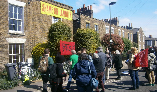 Housing activists stop Lambeth bailiffs evicting a disabled woman - in photos - Lillieshall Road, London SW4 0LP, April 2015