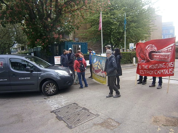 Brixton Guinness Trust residents and activists stage blockade,  Friday 8th May 2015
