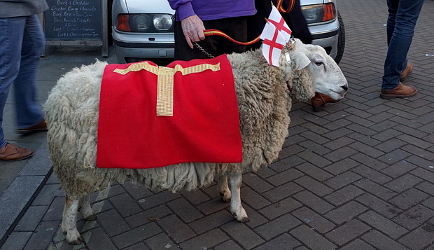Herne Hill market and a sheep with flags on its head, Herne Hill, south London, Sunday 8th February 2015