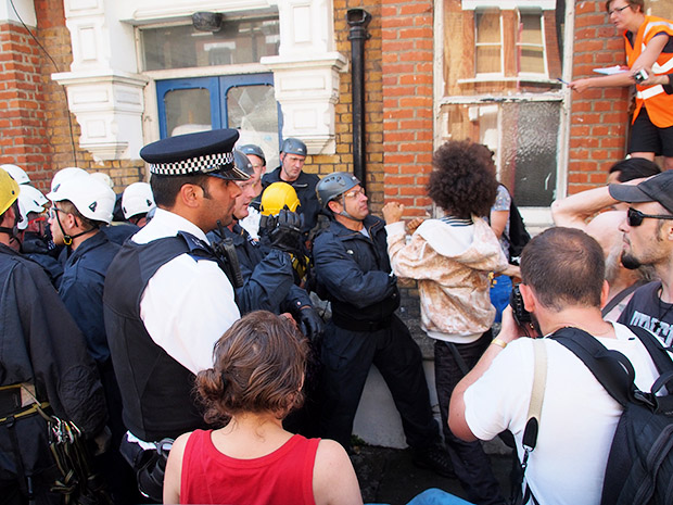Police and High Court Enforcement Officers evict Rushcroft Road squats in Brixton, Monday 15th July 2013