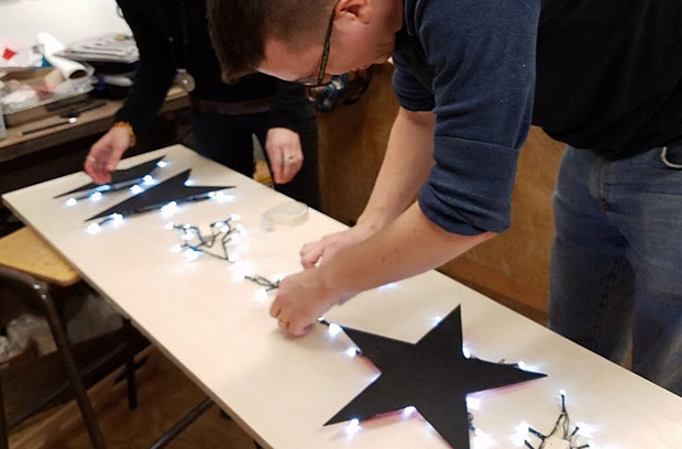 Building a Bowie sign at the South London Makerspace, Herne Hill, London