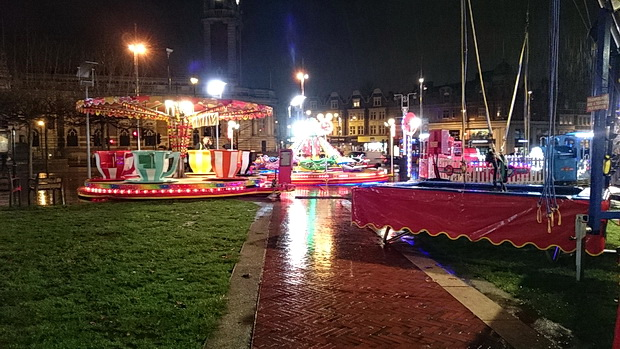 A soaking wet start for the Christmas funfair in Windrush Square, Brixton, December 2015
