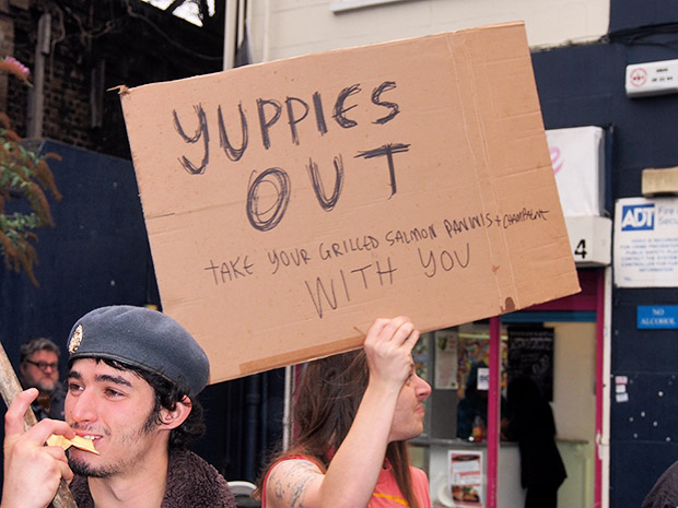 Photos of the Yuppies Out protest against the opening of Champagne ...