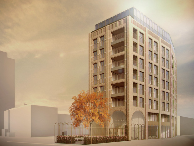 Illustrations of the nine-storey block that will replace the Canterbury Arms pub in Brixton released