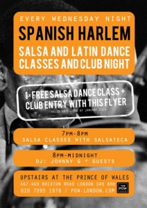 Spanish Harlem: Salsa classes & the real salsa sound of Colombia, Cuba, Puerto Rico and New York @ Prince Of Wales | United Kingdom