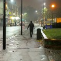 Two photos: a rainy night in Coldharbour Lane, Brixton
