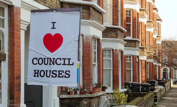 South London estate agent signs subverted by I Love Council Houses posters