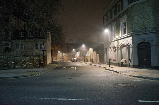 The deserted, foggy streets of Brixton 2.30am, Thursday morning