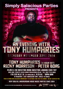 Simply Salacious Parties - An evening with Tony Humphries @ Plan B | London | United Kingdom