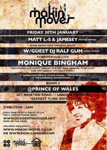 Makin' Moves with Special Guest Ralf Gum (Gogo Music ) & Monique Bingham (NYC) @ The Prince of Wales   London   United Kingdom