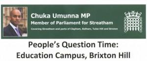 Chuka Umunna's People's Question Time over Lambeth College's Brixton Hill site @ Corpus Christi Church Hall | London | England | United Kingdom