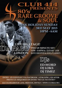 Club 414 presents *80's Rare Groove & Soul* @ Club 414   London   United Kingdom
