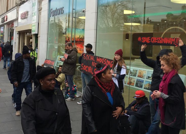Housing campaigners camp outside Foxtons in Brixton to highlight eviction crisis