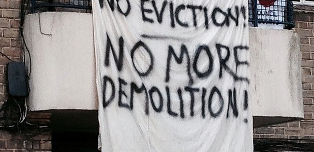 Assured Shorthold Tenants facing eviction from their Guinness Trust homes continued their series of actions yesterday morning with another blockade of the estate in Loughborough Park, Brixton.