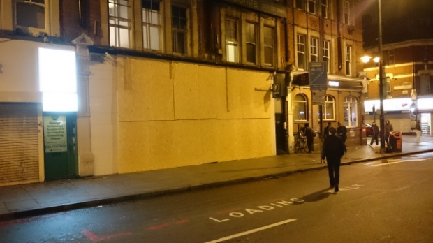 The frontage of the Brixton branch of Foxtons estate agents – recently dubbed the area's most hated business – has once again been boarded up.