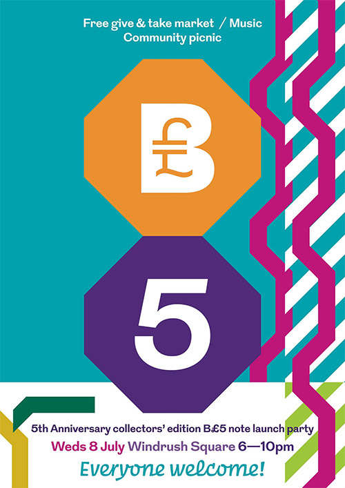 Brixton Pound launches new B£5 note with community picnic in Windrush Square, Wed 8 July 2015