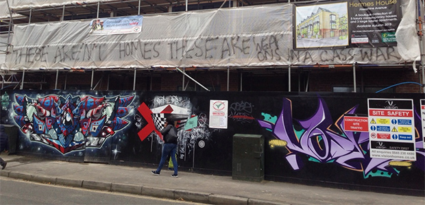 Class war graffiti appears on luxury Josephine Avenue development, Brixton