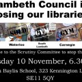 Campaigners to grill Lambeth Council over library closures at 'call-in meeting', Tues 10th Nov