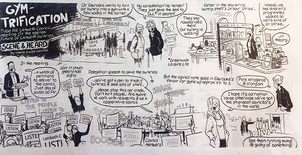 Gym-Trification: Lambeth's dodgy scheme to turn libraries into books parodied in Private Eye