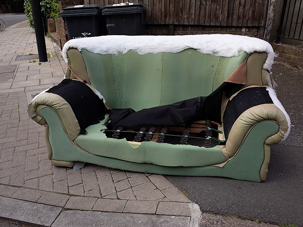 The dumped and discarded beds chairs and sofas of Brixton