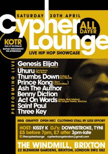The Cypher Lounge - All Day Hiphop Showcase @ Windmill | London | United Kingdom