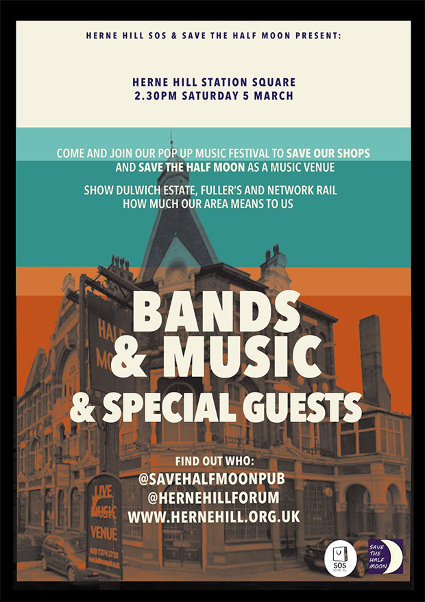Herne Hill Pop Up Music festival in support of Half Moon and local shops: Sat 5th March
