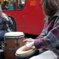 Brixton buskers: steel pan player and overactive drummer entertain Brixton Road