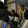 As part of Pop Brixton's 'Easter Extravaganza,' the Croydon Steel Orchestra were playing inside the venue yesterday evening.