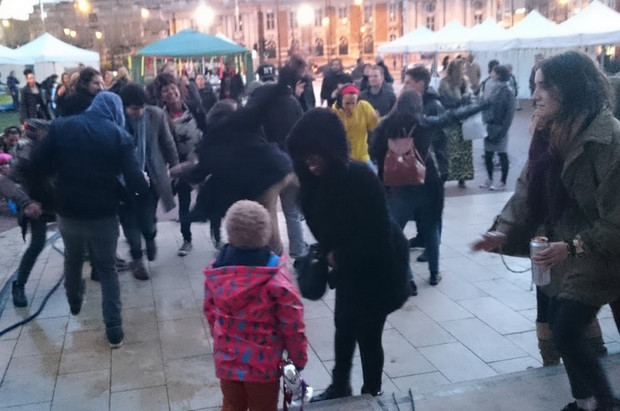 Dancing in Windrush Square – Brixton Come Together as seen from the DJ booth