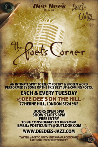 The Poets Corner (Every Tuesday) @ Dee Dee's On The Hill | London | United Kingdom