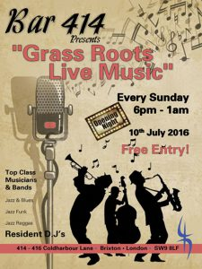 """Grass Roots Live Music Sundays"" @ Bar 414 Brixton 
