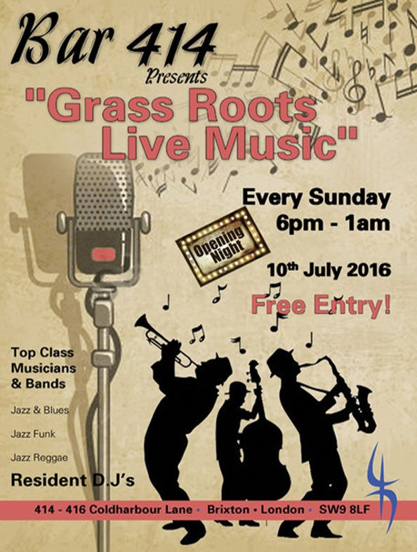Grass Roots Live Music at Club 414 - new free Sunday night show for Brixton