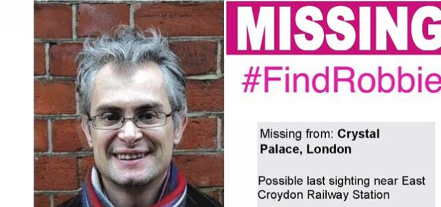 "Six weeks after the Crystal Palace Library campaigner Robert ""Robbie"" Gibson went missing from his South London home, the appeal to find him continues with national TV coverage on Monday."