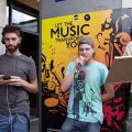 Brixton buskers - the Improv gang invite passers-by to shout out a word