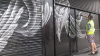 Irish Artist Eoin O'Connor was invited to transform the frontage of the former Brixton Cycles shop at Thrayle House,next to the Stockwell Skatepark.