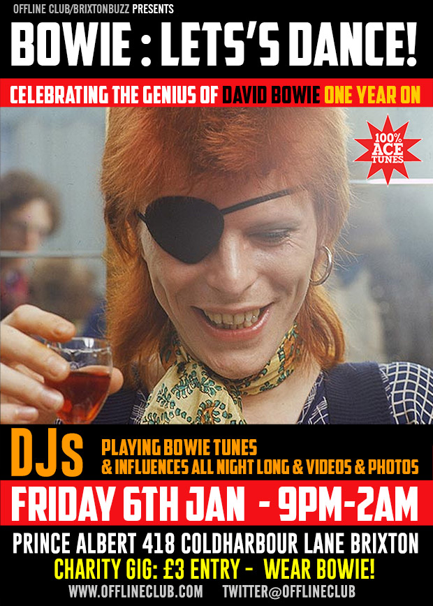 David Bowie - Let's Dance! A celebration of David Bowie in Brixton, Fri 6th Jan