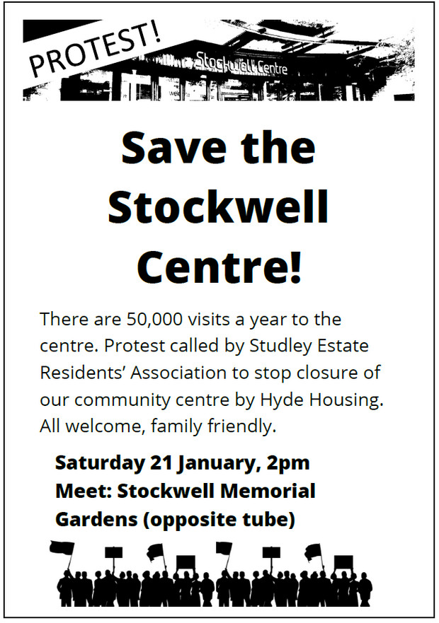 Sat 21 Jan: Councillors and residents fight to save Stockwell and Kennington park community centre