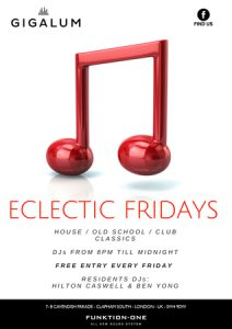 Eclectic Fridays - Funk | New Disco | Indie | Rock @ Gigalum | England | United Kingdom