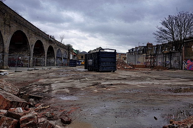Site clearance for another luxury Brixton development reveals fine viaduct vista