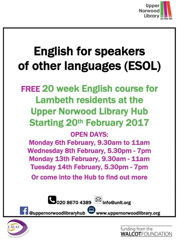Free English lessons for Lambeth residents starting on 20th Feb, Upper Norwood Library Hub